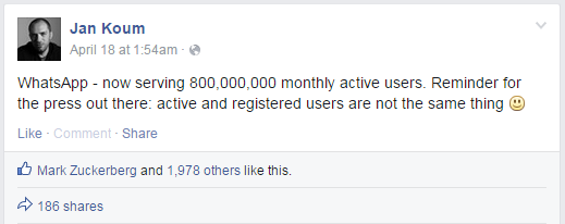 Jan Koum 800 mln users