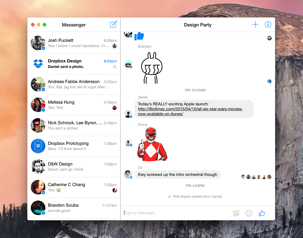 Facebook Messenger для MacOS