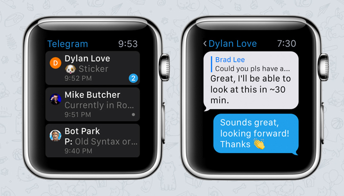Что может Telegram на Apple Watch