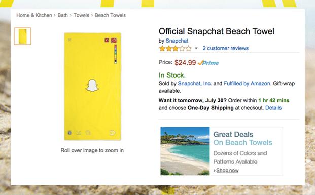 Официальное пляжное полотенце спасет Snapchat?