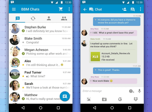Обновления BlackBerry Messenger