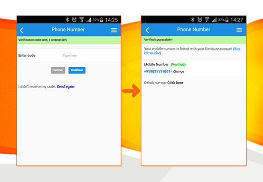 Верификация мобильного номера в Nimbuzz