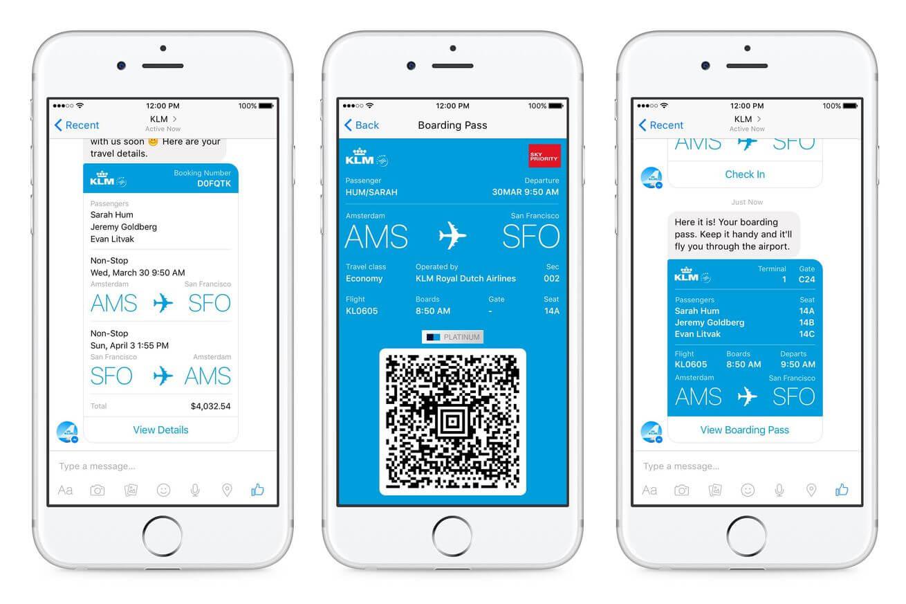 Регистрируйся на рейсы KLM через Facebook Messenger