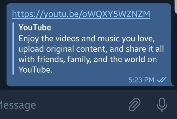 Telegram youtube